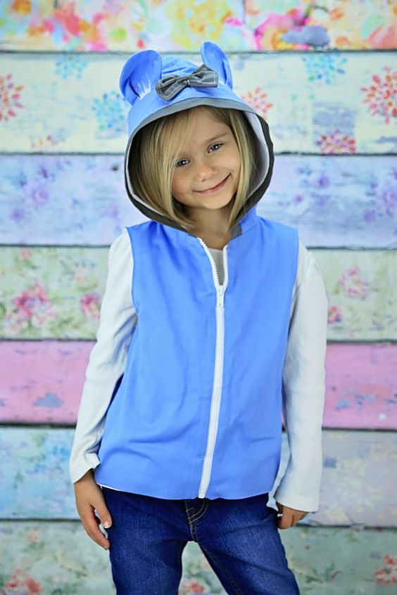 Animal Ear Hoodie - Bear Ear Hoodie - Blue Hoodie - Hoodie Jacket - Bow Jacket - Hand Painted Hoodie - Kids Vest - Toddler Bear Outfit Vest