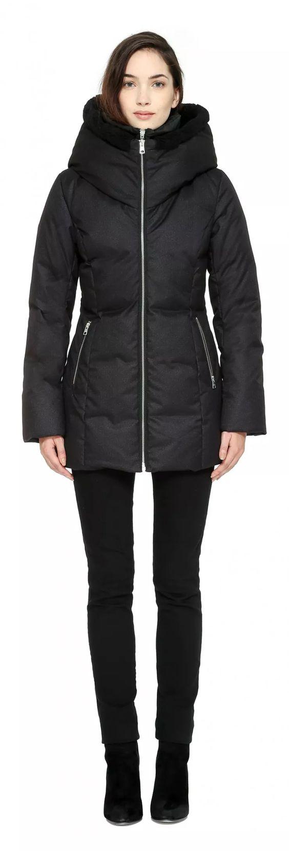 PEARLIE Car coat length brushed down coat in Black | Manteaux