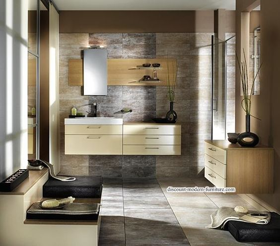 Modern furniture | Beautiful wallpaper for the bathroom | http://discount-modern-furniture.com