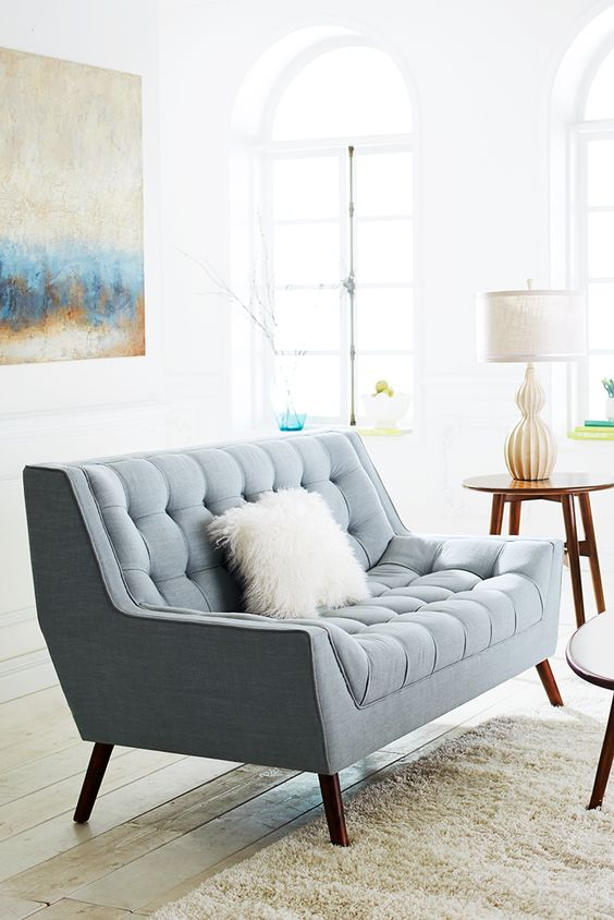 Cece Surf Blue Loveseat Love Seat Furniture And Design