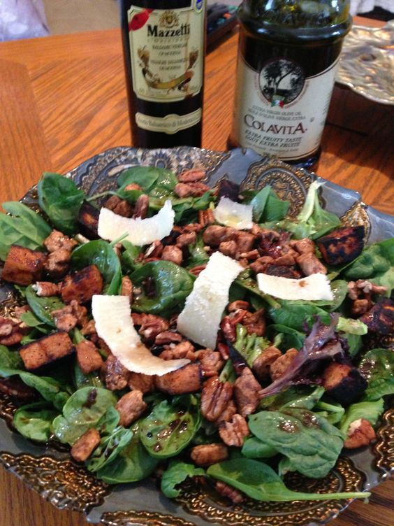 Warm fall salad. Spinach, sweet potato, pecan, chicken, with balsamic ...