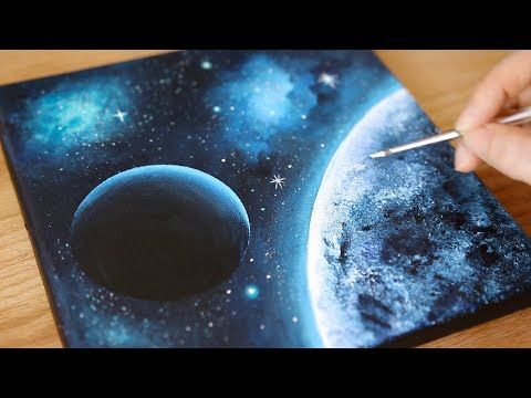 Black Canvas Acrylic Painting Space Painting Painting Tutorial For Beginners 106 Youtube In 2020 Space Painting Acrylic Space Painting Black Canvas Art