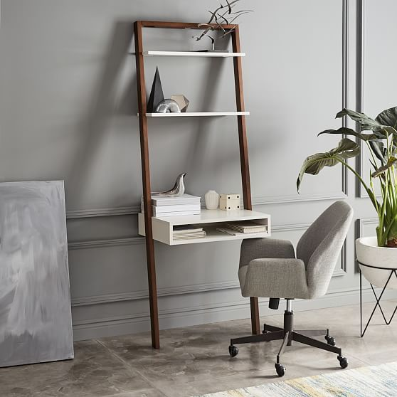 Designed With Smaller Spaces In Mind Our Ladder Shelf Desk Matches Lots Of Storage With A Compact Footprint And Great Ladder Shelf Desk Desk Shelves Wall Desk