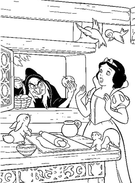 Disney Witches Coloring Pages : Snow white princess and witch coloring pages