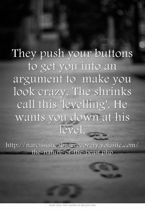 They push your buttons to get you into an argument to make you look crazy. The shrinks call this 'levelling'. He wants you down at his level.: