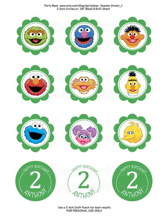 Sesame Street Birthday Cupcake ToppersStickersTags by partybean, $6.50