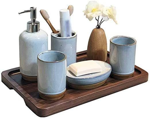 Xingzhe Bathroom Accessories Set Japanese Ceramic Simple Personality Wooden Bottom Stitching Ba Bathroom Accessory Set Bathroom Hardware Set Japanese Ceramics