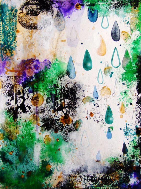 Ursprüngliche Landschaft Malerei abstrakte von CelineArtGalerie