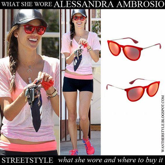 ray ban erika sunglasses red  alessandra ambrosio with red mirror sunglasses ray ban erika red velvet want her style #alessandraambrosio