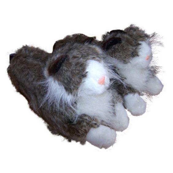 Comfy Feet Gray Long Hair Cat Animal Feet Slippers - 9076-2