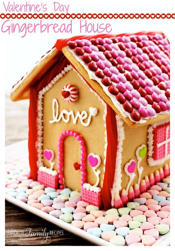 Valentine's Day Gingerbread House - Favorite Family Recipes. Includes easy recipe for gingerbread! #valentinesday #gingerbreadhouse