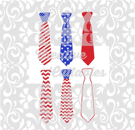Patriotic Neck Tie design for  Silhouette or other craft cutters (.svg/.dxf/.eps)