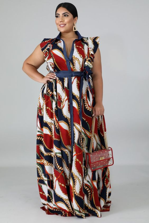 Chains Stripe Maxi Dress | Style GT19264 XDescriptionThis chains stripe maxi dress features, a non-stretch collard neckline, flutter sleeves, finished with a front button up closure. Model is wearing a 1XHand wash cold waterDo not bleachMODEL STATSHeigh