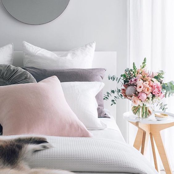 A pretty white, pink and pale grey palette for a feminine bedroom: