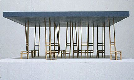 Proposal for Utopian Cafe (square), 2001  wood  24 x 24 x 42 inches  Collection: Karl Ernst Osthaus-Museum  Hagen, Germany