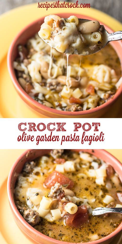 Olive Garden Pasta Fagioli Crock Pot Copycat Recipe: Sausage, beans, basil and pasta make for a flavor-filled bowl every time!