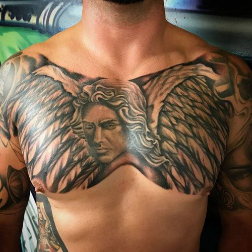 101 Best Angel Tattoos For Men Cool Designs Ideas 2019 Guide Chest Tattoo Men Cool Chest Tattoos Chest Tattoo