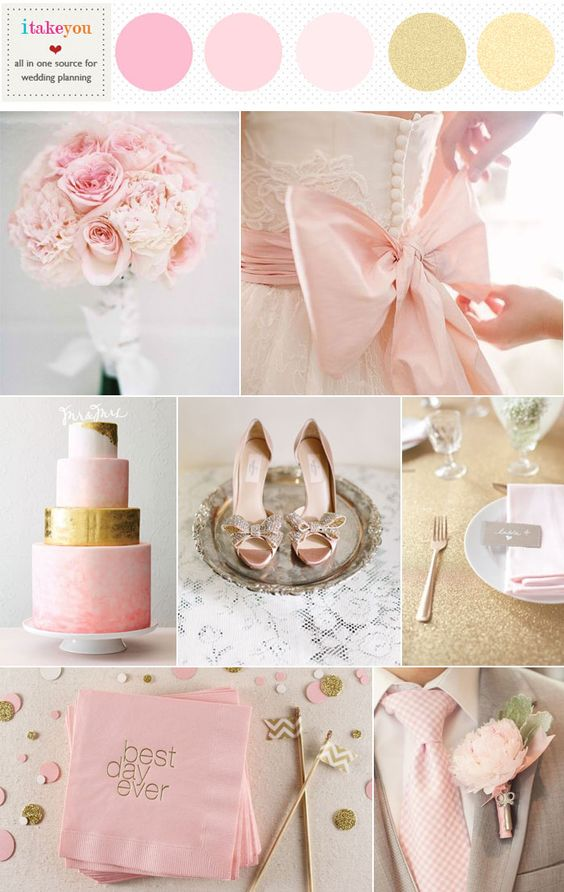read more pink gold wedding colors,pink gold wedding theme,pink and gold wedding colour scheme,wedding color palette pink and gold,pale pink and gold wedding colors http://www.itakeyou.co.uk/wedding/pale-pink-gold-wedding-colors/
