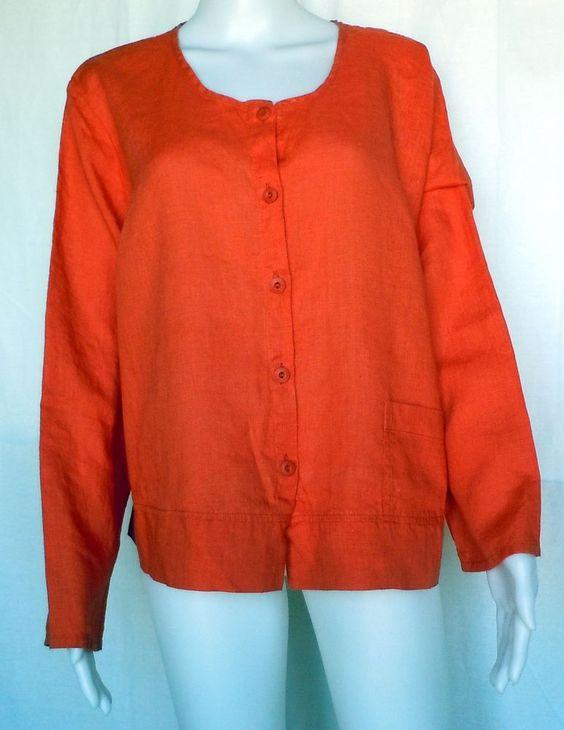 FLAX UNDERFLAX 2/3 Shirt, Coral, Linen, 1G (1X), Sleepwear / Blouse, NWOT #Flax #Sleepshirt