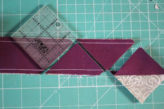 Half square triangle quilt tutorial tube piecing: