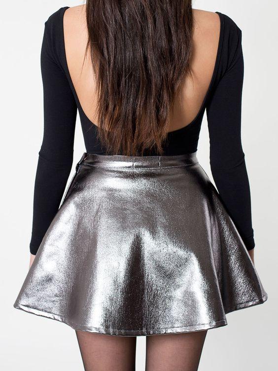 American Apparel Metallic Denim Circle Skirt