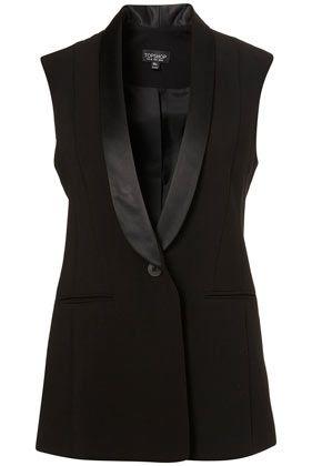 Satin Collar Sleeveless Blazer - StyleSays