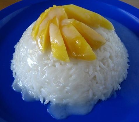 I was trying to match a dessert sold at a local Thai restaurant; this is pretty close, but not exact. The real thing uses glutinous rice, but since that is not available in most of the U.S., this can be a variation for people without it.
