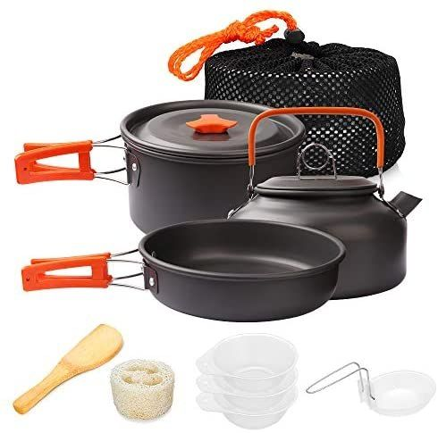Gutsdoor Camping Cookware Set 4 Person Camping Gear Campfire Utensils Non Stick Cooking Equipment Lightweight Stackable Pot Pan Bowls With Storage Bag For Outdo Camping Cooking Set Cooking Equipment Cooking Set