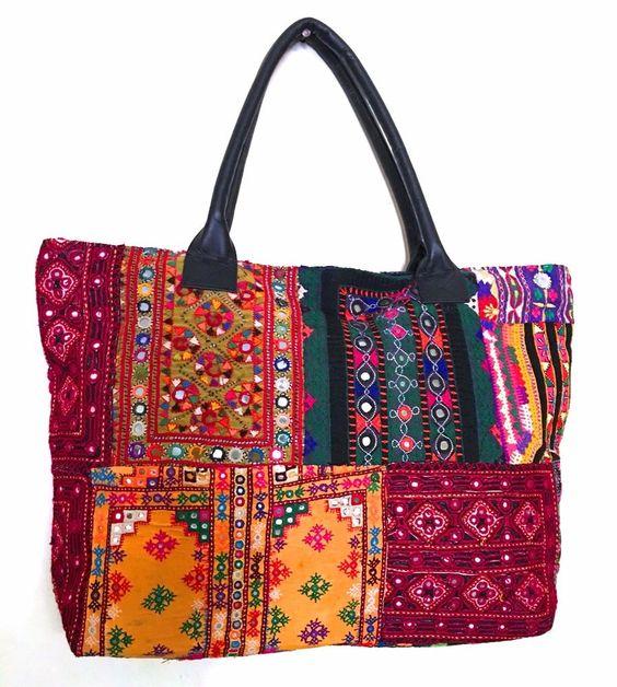 Vintage Banjara multi color Tote Extra Large Bag Indian gypsy boho mirror work #Handmade #TotesShoppers