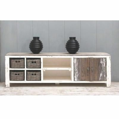meuble tv en pin recycl largeur 140 cm 2 portes paniers rotin atlantic tvs. Black Bedroom Furniture Sets. Home Design Ideas