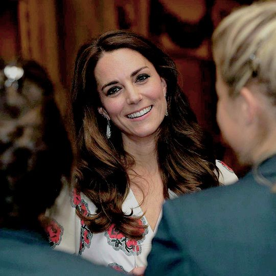 Catherine, Duchess of Cambridge, meets athletes at a reception for Team GB's 2016 Olympic and Paralympic Teams at Buckingham Palace on October 18, 2016.: