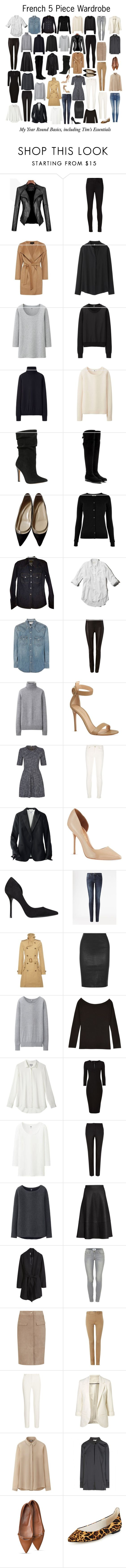 """French 5 Piece Wardrobe - Basics"" by charlotte-mcfarlane ❤ liked on Polyvore featuring J Brand, Jaeger, Uniqlo, ALDO, Dolce&Gabbana, Christian Louboutin, Oasis, J.Crew, Abercrombie & Fitch and Yves Saint Laurent"