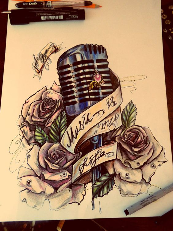 vintage microphone tattoo im in love with this i want the title of my favorite oldie on the ribbon http://www.guitarandmusicinstitute.com- CLS