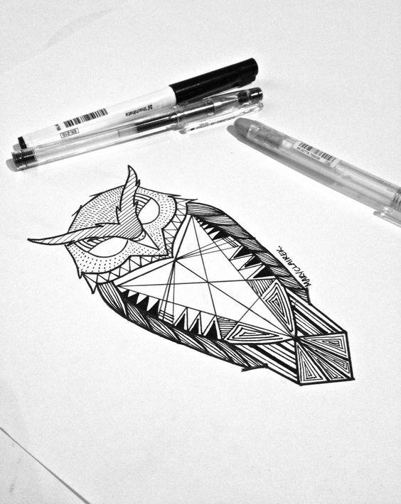 animal g om trique tatouage de hibou tatouages pinterest animaux. Black Bedroom Furniture Sets. Home Design Ideas
