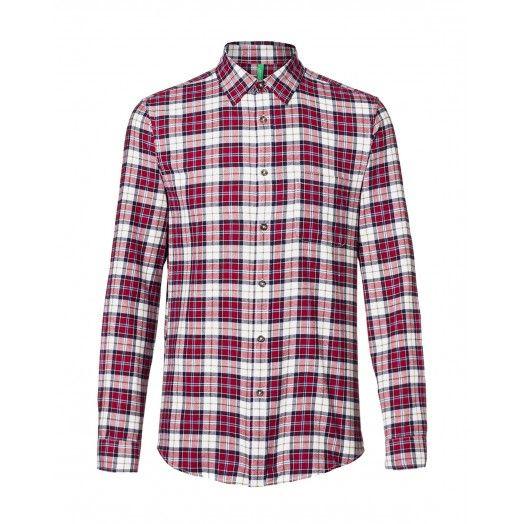 Camicia in flanella, di cotone fantasia, disegno tartan e taschino frontale lato cuore applicato.5JL75Q248 FANTASIA1
