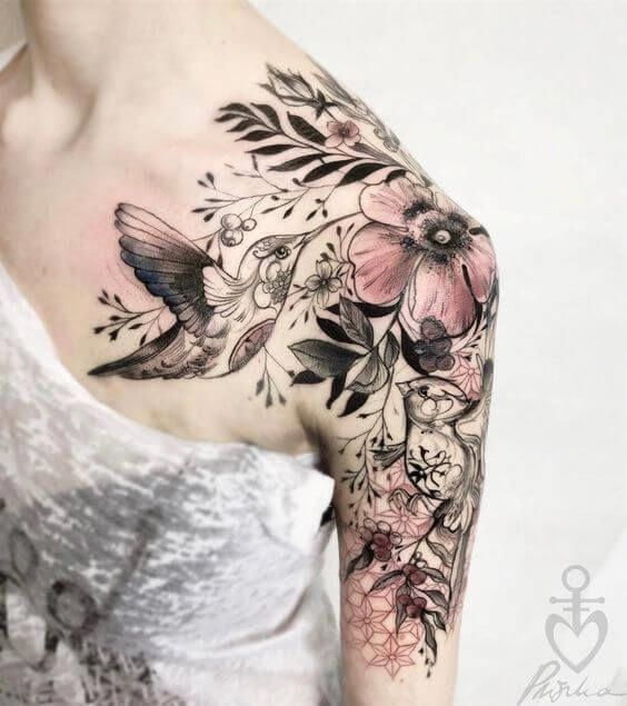 Big Colorful And Interesting This Design Is Distinctive And Appealing Completed In Shoulder Tattoos For Women Sleeve Tattoos For Women Floral Tattoo Design