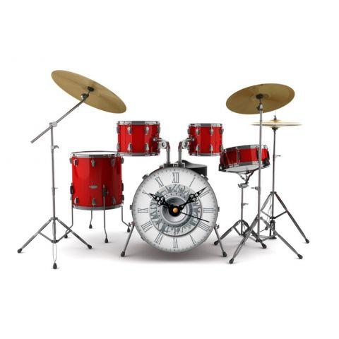 3D Wandtattoo Schlagzeug  mit Uhr Wanduhr