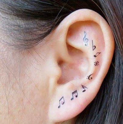 Petit tatouages notes de musique l 39 int rieur de l for Interieur oreille