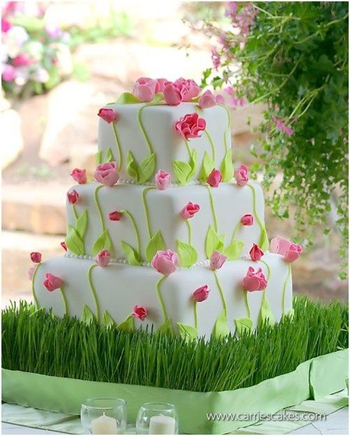 Green and pink flower cake.