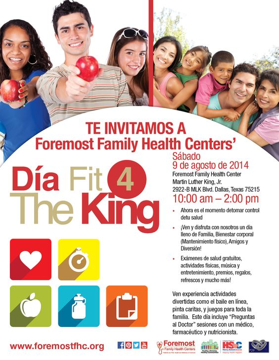 TE INVITAMOS A Foremost Family Health Centers' Dia Fit 4 The King, Sábado, 9 de agosto de 2014, 10:00 am – 2:00 pm. Foremost Family Health Center - Martin Luther King, Jr.  http://foremostfhc.org/spanish/subpages/events_f4tk.php