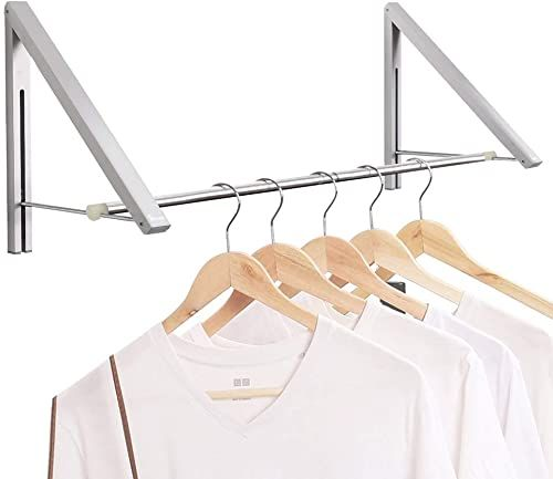 Creative Wall Mounted Retractable Foldable Clothes Rack Magic Hanger Storage Holder Hardware Accessories From Furniture Home Improvement On Banggood Com Diy Clothes Hanger Storage Clothes Hanger Storage Hanger Storage