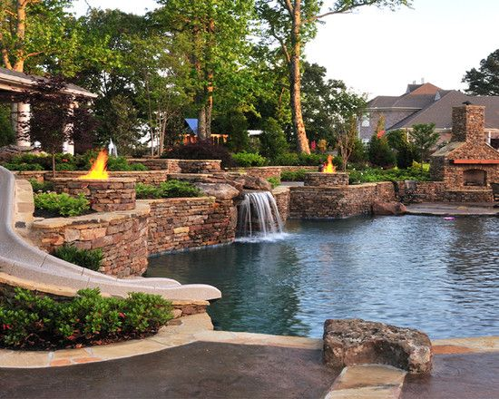 Backyard ideas with pool wonderful backyard resort for Garden spas pool germantown tn