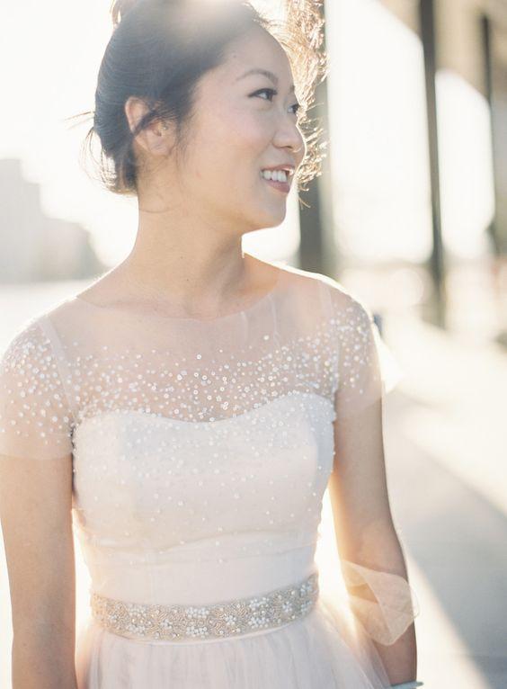Gorgeous beaded illusion neckline dress: itakeyou.co.uk