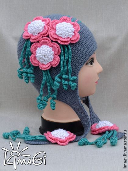 """Шапочка """"Расцвела"""" - описание - шапочка с цветами, шапочка для девочки:"""