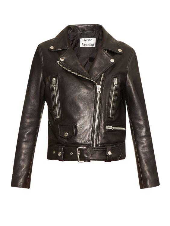 Acne | Black Mock Leather Biker Jacket | Lyst