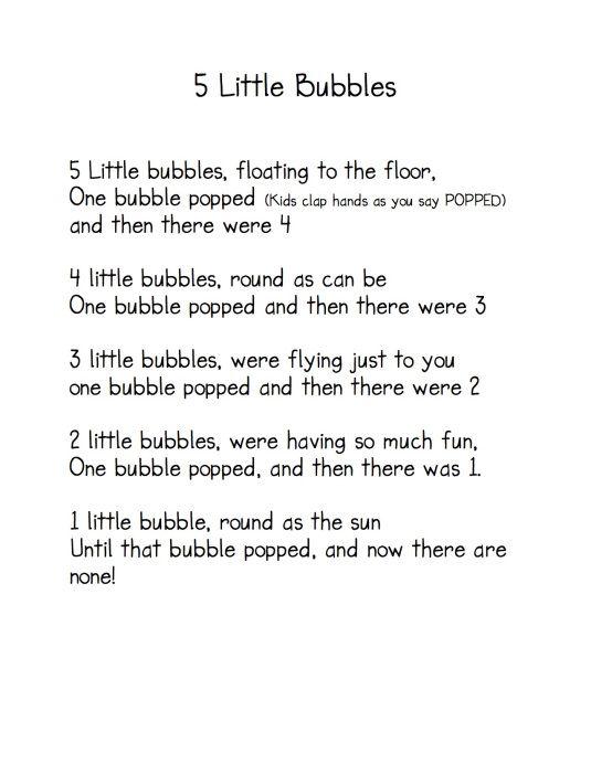 """5 Little Bubbles"" Poem / Fingerplay (from Kindergarten Nana)"