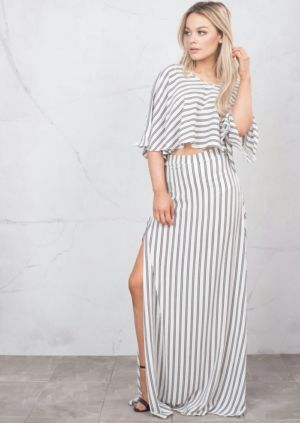 Batwing PinStripe Crop Top With SPlit Side Maxi Skirt Co-Ord