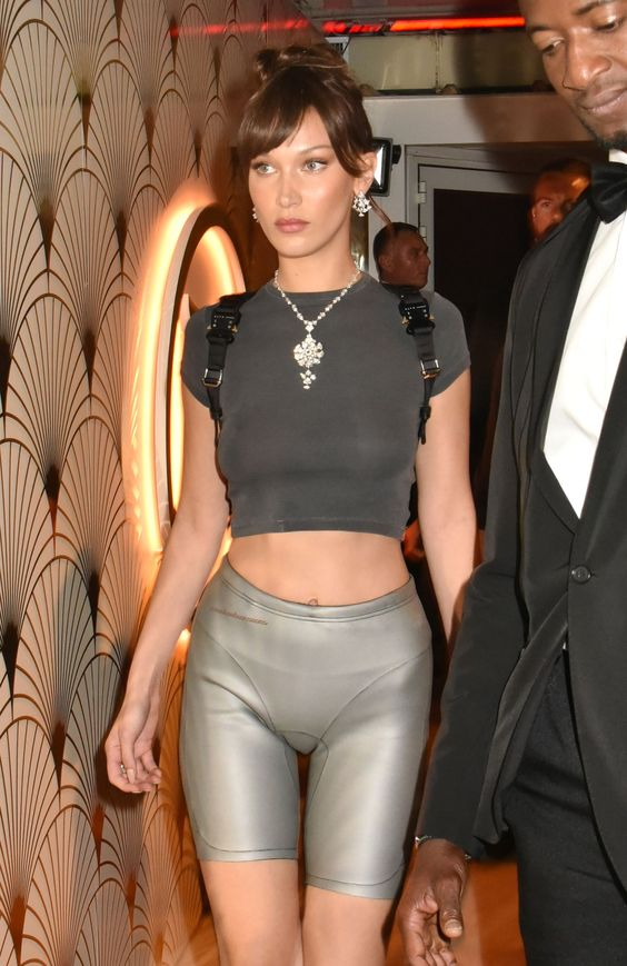 Bella Hadid Switched Her Naked Red Dress for Skintight Silver Bike Shorts at Cannes- HarpersBAZAAR.com