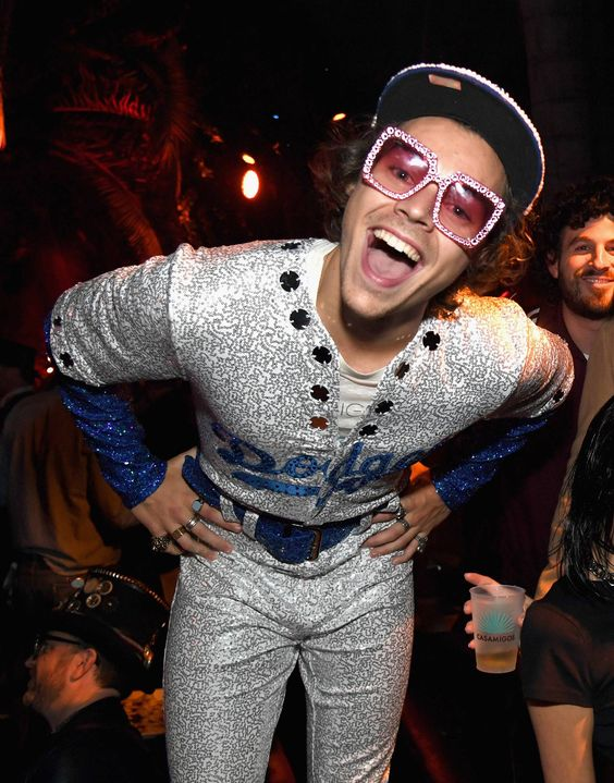 Harry Styles wore a LA Dodgers costume in the style of Elton John. See all the best celebrity halloween costumes.