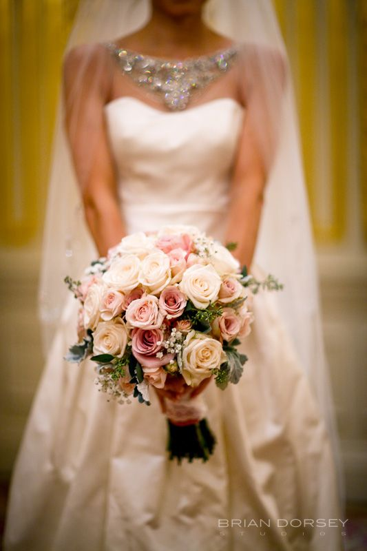 brides' pink and cream and white bouquet at a new york wedding at the St. Regis Hotel   - photo by brian dorsey studios